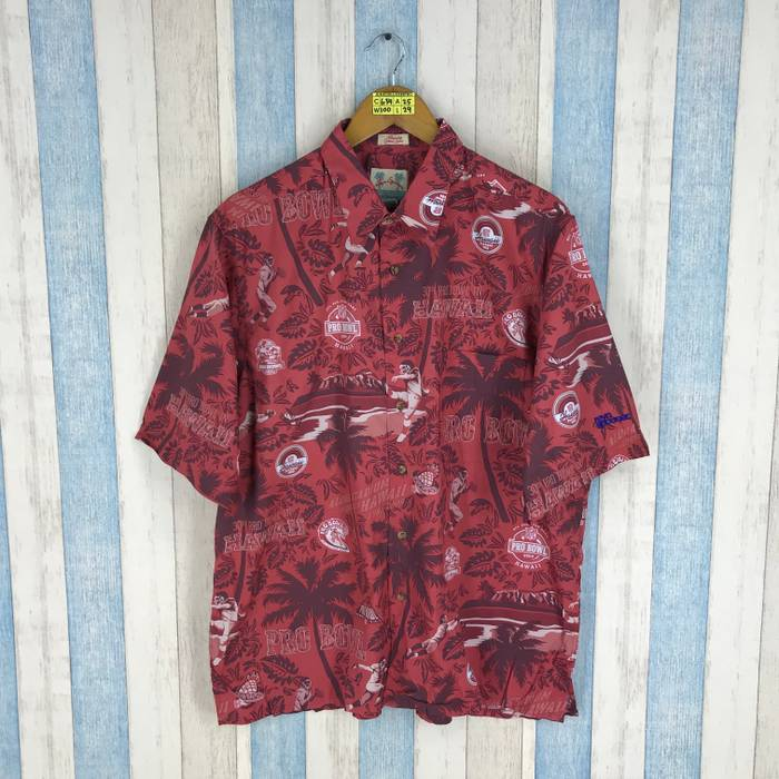 Reyn Spooner HAWAIIAN Shirt Mens Large 80 s Reyn Spooner Pro Bowl Nfl  America Football Rugby Cotton ebd6c8eacc5a