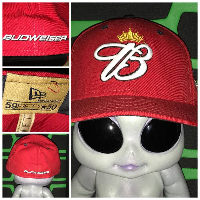 Vintage BUDWEISER x New Era Fitted Baseball Cap Vintage Hat Rare Size ONE  SIZE 92874a91b45