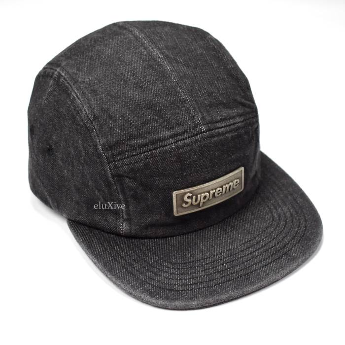 Supreme Black Denim Metal Box Logo Hat DS Size one size - Hats for ... 867a2232a64