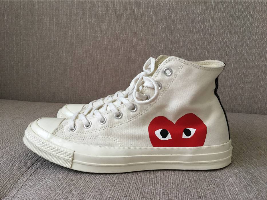 1fae902e3b33 Converse Comme des Garcons x Converse Chuck Taylor All Star Hi White Milk  Cdg Play Size