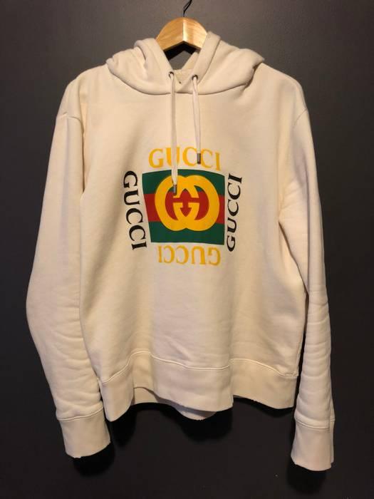 087f61d37d69a Gucci Vintage Box Logo Hooded Sweatshirt Size l - Sweatshirts ...
