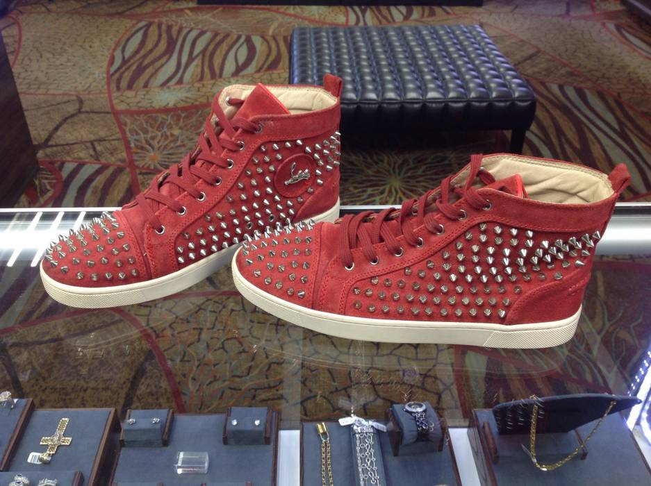 25049dd6aae4 Christian Louboutin Red Suede Sharp Nail Spiked Sneakers Boots Size ...