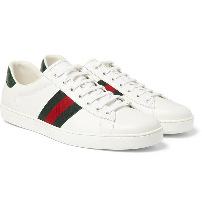 c95cff04439 Gucci Gucci  Crocodile-Trimmed  Ace Low Sneakers Size 11 - Low-Top ...