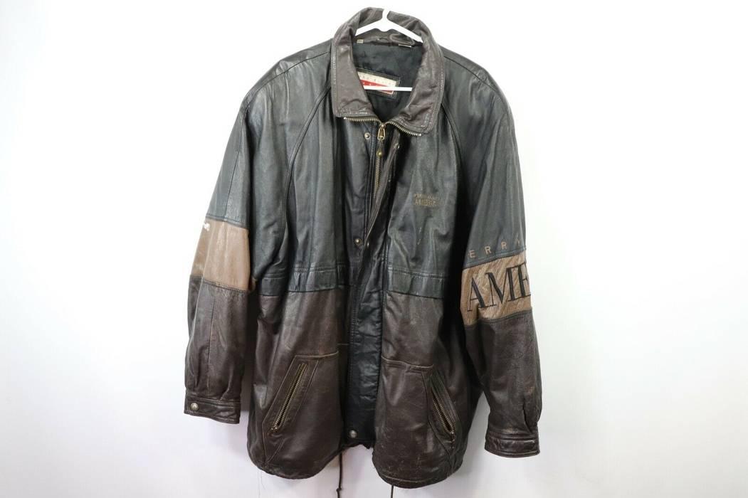 96df7027d1 Vintage Vintage 90s Perry Ellis Mens 2XL XXL Full Zip Spell Out Leather  Parka Jacket Brown
