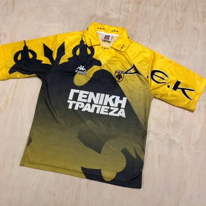Vintage 90s Kappa AEK Athens FC Greek Soccer Jersey Top Yellow VTG Size US  M   8efe6c5ca