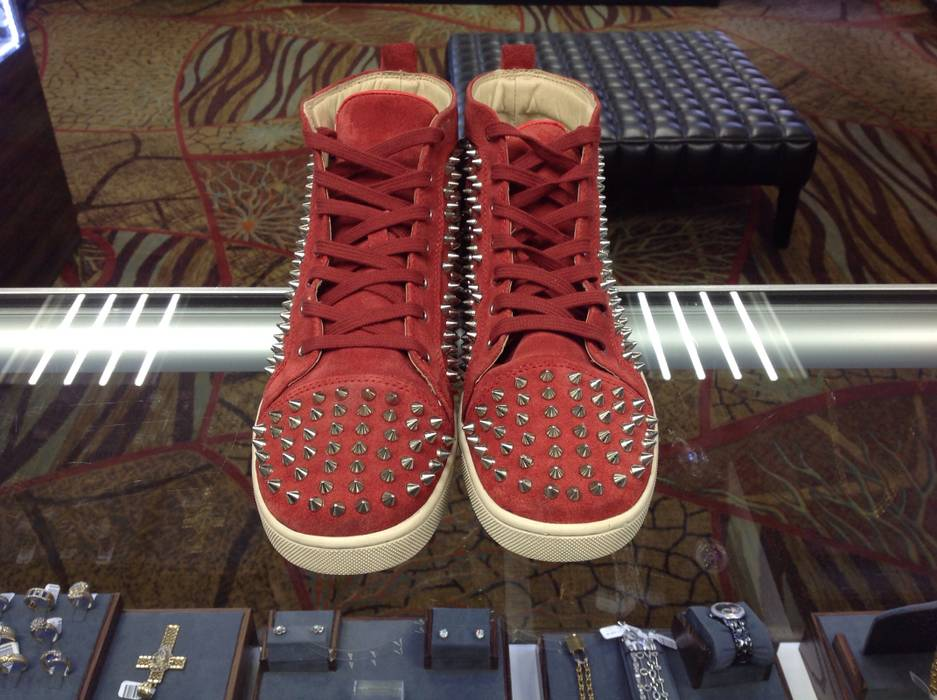 6b6b86453db4 Christian Louboutin Red Suede Sharp Nail Spiked Sneakers Boots Size US 11    EU 44 -