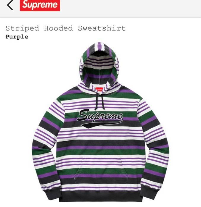 956df0b9f2a0 Supreme Supreme Striped Hooded Sweatshirt - Purple Size US M   EU 48-50