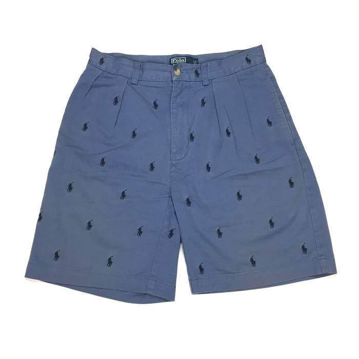 Polo Ralph Lauren Slate Blue Allover Pony Logo Shorts Size 31