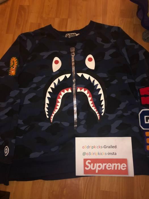 39bdfb0108a6 Bape Bape Blue Camo Sharkface Size xl - Sweatshirts   Hoodies for ...