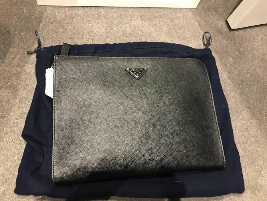 dfb32c43c80c Prada Brand New Black Saffiano Leather Portfolio Document Holder Clutch Bag  Size ONE SIZE - 5
