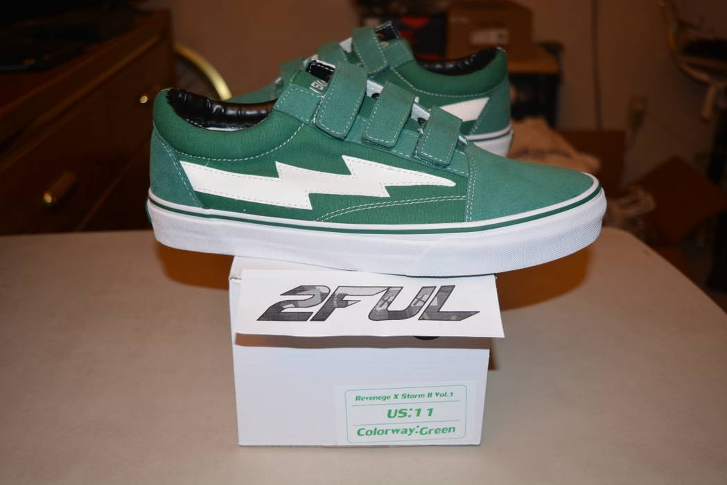 Ian Connor FINAL PRICE Ian Connor Revenge X Storm Lightning Bolt Vans  Forest Green Straps Size 64b44dc30