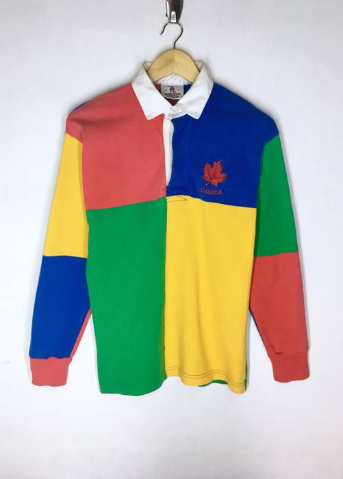 6eaa9a2d213b19 Vintage Rare Design Vintage Canada Colourful Patchwork Rugby Polos T-shirt  Long Sleeves 90s Size