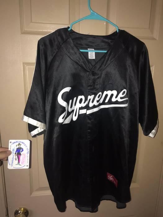 Supreme Supreme Satin Baseball Jersey  1 Black  White Size US L   EU 52 0ef80d76f