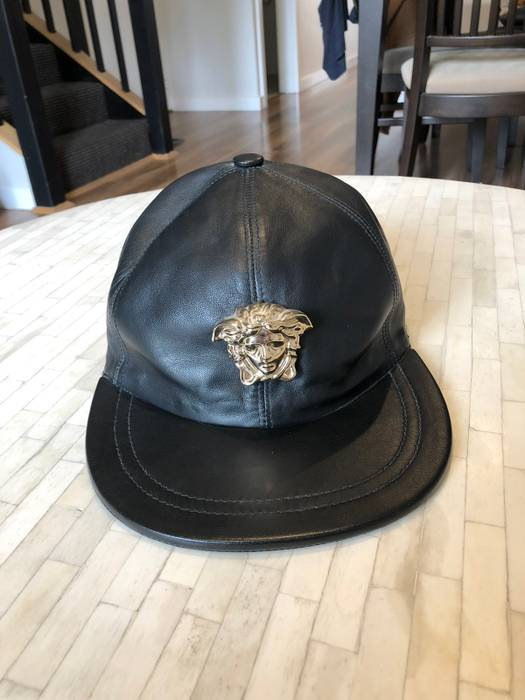Versace Versace Gold Medusa Leather Cap Size one size - Hats for ... 4e886716e0b