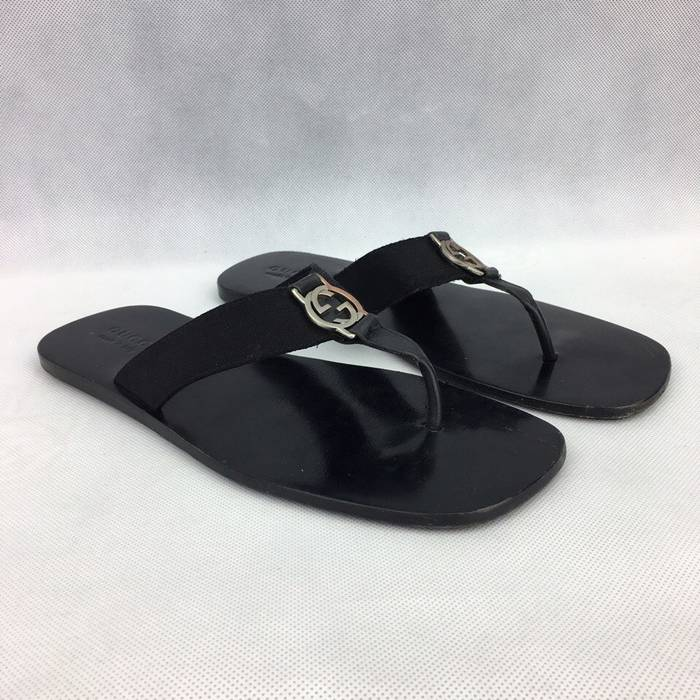 2aa1180a40cc Gucci GUCCI Men s Black Leather Slilver GG Logo Thong Sandals   Flip Flops  Size US 9.5