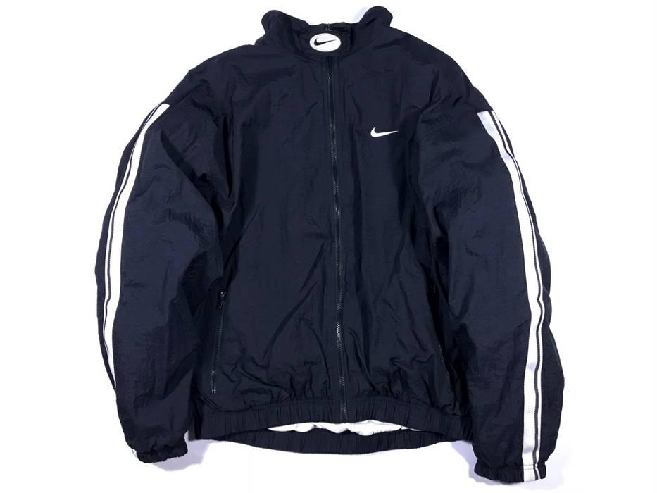 869b498186 Nike Vintage 90 s White Tag Nike Track Jacket Windbreaker Size Large Black  With White Striped Size