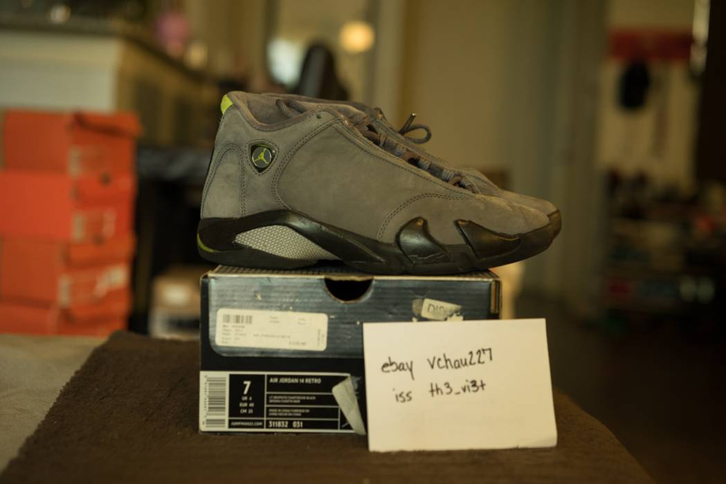 new arrival ab879 706e5 Nike Nike Air Jordan XIV 14 Retro Light Graphite Chartreuse-Blk  05 Size