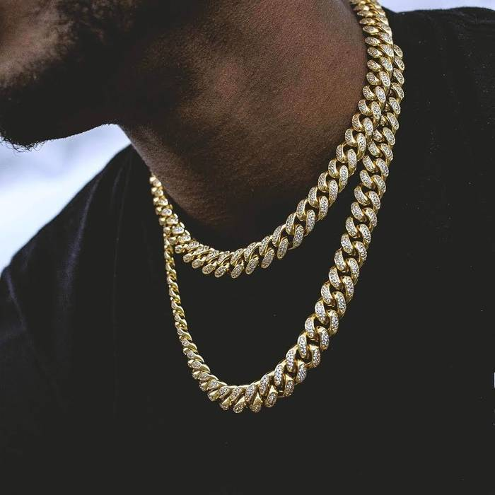 e88224d91c63 Gold Chain Gold Cuban Diamonds Link Chains Iced Out Choker Necklace Bundle Size  ONE SIZE