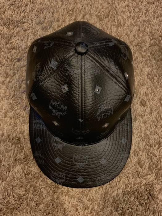 MCM Black Leather Hat Size Small Size one size - Hats for Sale - Grailed df5a090eaed6