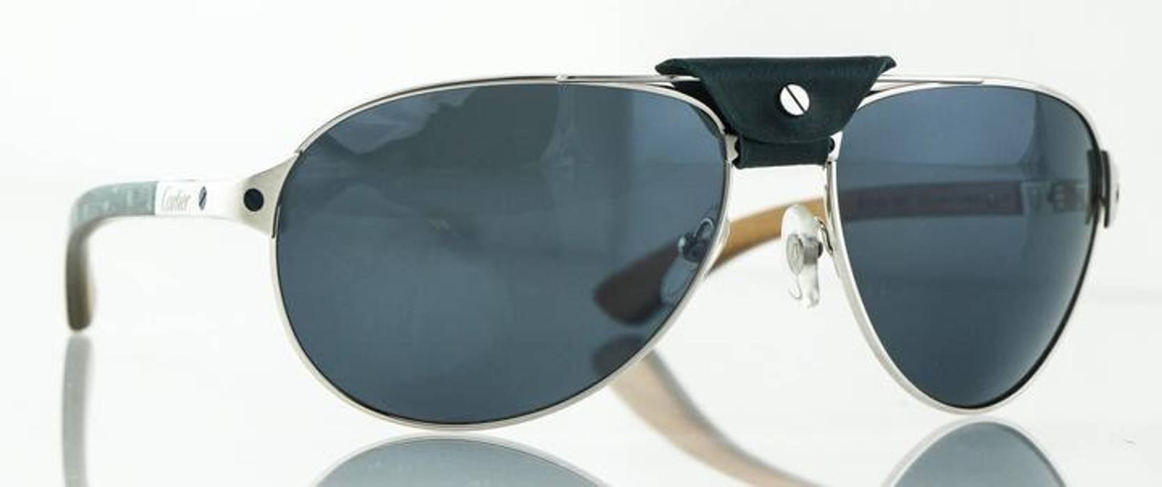 3092eca462 Cartier. Louro Faya Wood Ruthenium Finish Edition Santos-Dumont Sunglasses