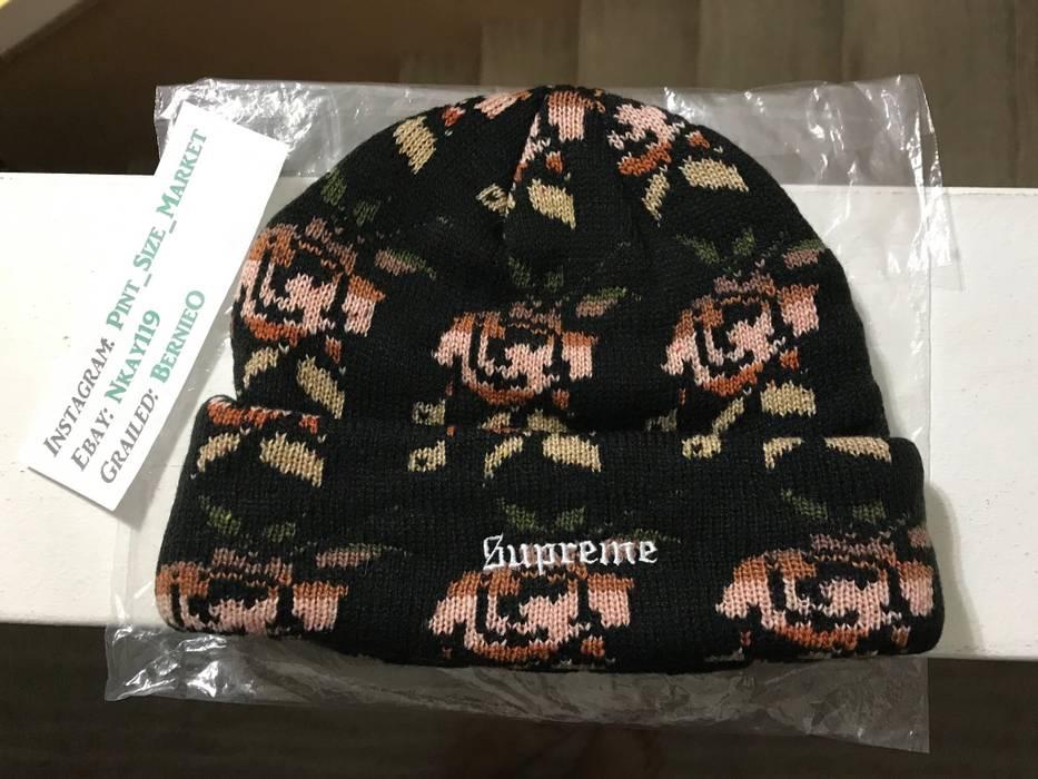 8021b8d94ff Supreme LIKE NEW Supreme Rose Jacquard Black Beanie FW18 Size one ...