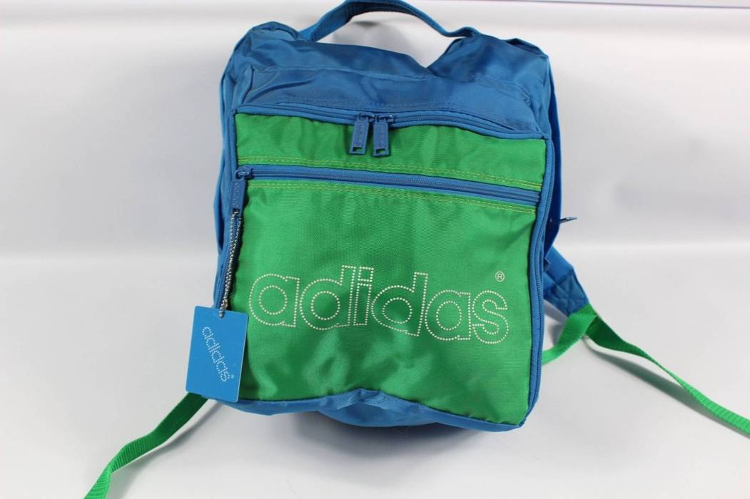 Adidas New Vintage 80s Adidas Spell Out Trefoil Nylon Backpack Book Bag  Black Green Size ONE c789ee81512a0