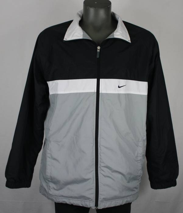8d1defc9fc60 Nike Vintage Nike Spell Out Black   Gray Colorblock Windbreaker Jacket Mens  L hip hop Size