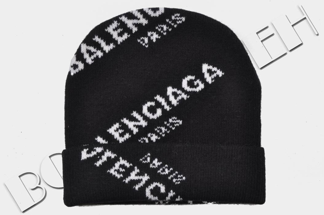4b0a443d911 Balenciaga 295  New Black Jacquard Logo Beanie Hat Size one size ...