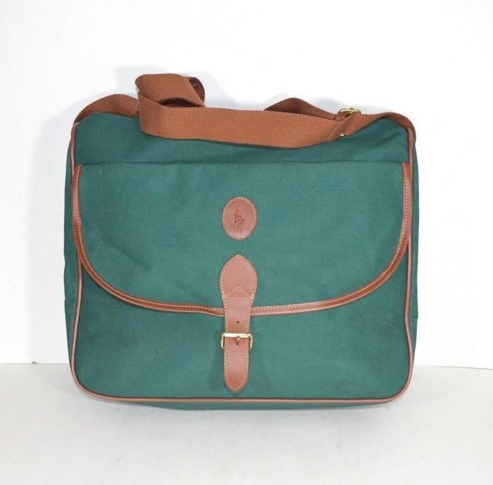 863d3a1dcf Ralph Lauren Vintage 90s POLO RALPH LAUREN Nylon Messenger Bag Shoulder Bag  Green Brown Size ONE