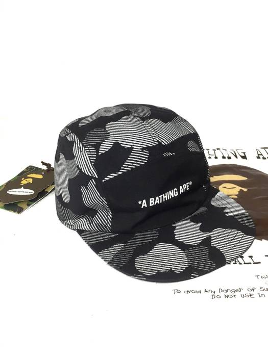 Bape 🔥Final Drop🔥 OG A Bathing Ape Black White Camo Cap Hat Size ... 00a27f94e37