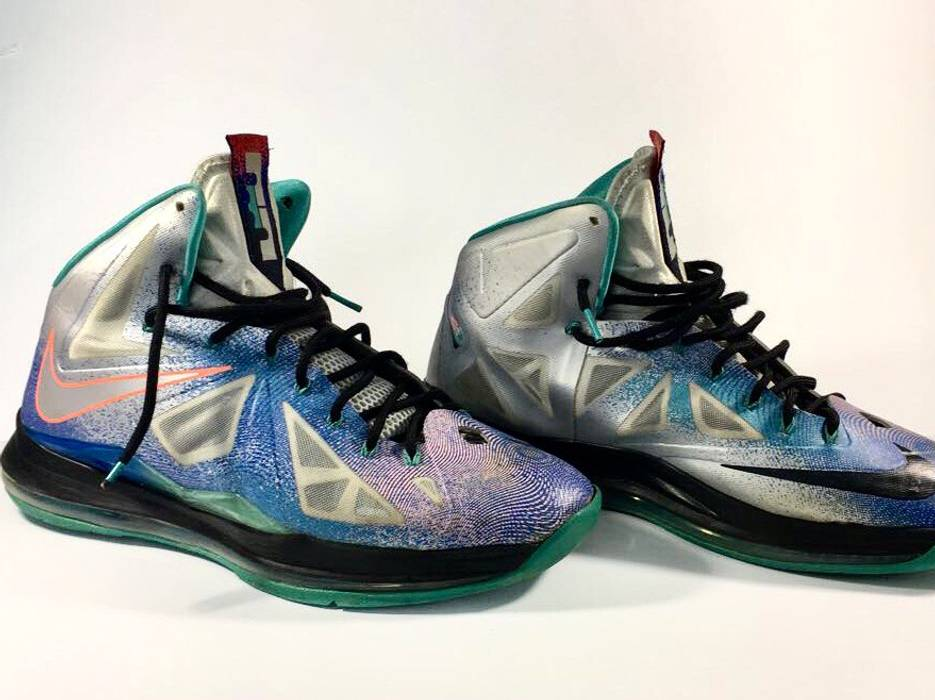 "ccf1e28b959aa4 Nike Nike Lebron X 10 ""Re Entry"" Pure Platinum 541100-008 Miami ..."