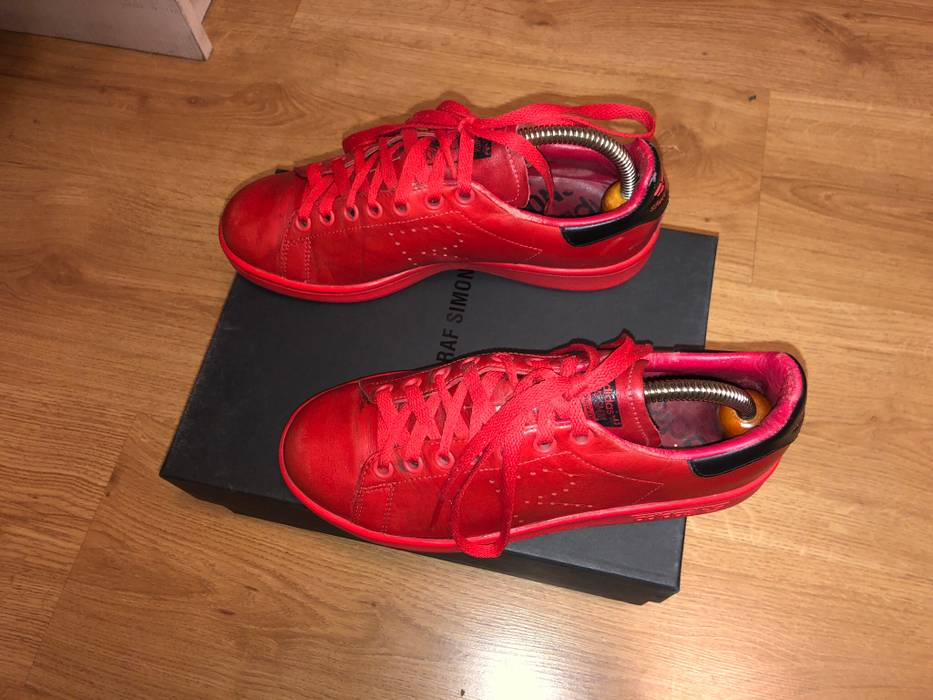 online retailer e64b1 03710 Adidas Raf simons x adidas Stan smith Lether red tomato sneakers low Size  US 6