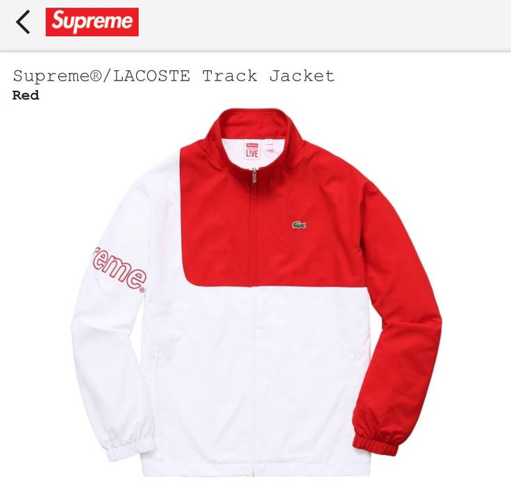 3cce5033fcd21 Supreme   SUPREME X LACOSTE TRACK JACKET   RED   LARGE   Size l ...