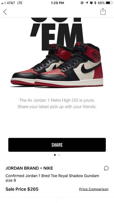 newest 32b72 ced8d Nike Confirmed SNKRS Bred Toe 1 Gundam Bred Royal Shadow Chicago Off White Size  US 9