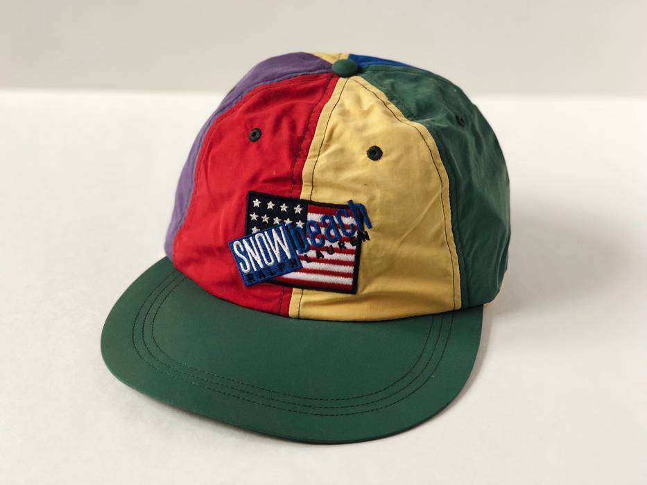 Polo Ralph Lauren SNOW BEACH  SZ M  FITTED CAP HAT NYLON MULTI BLACK ... 8736f81c9e4