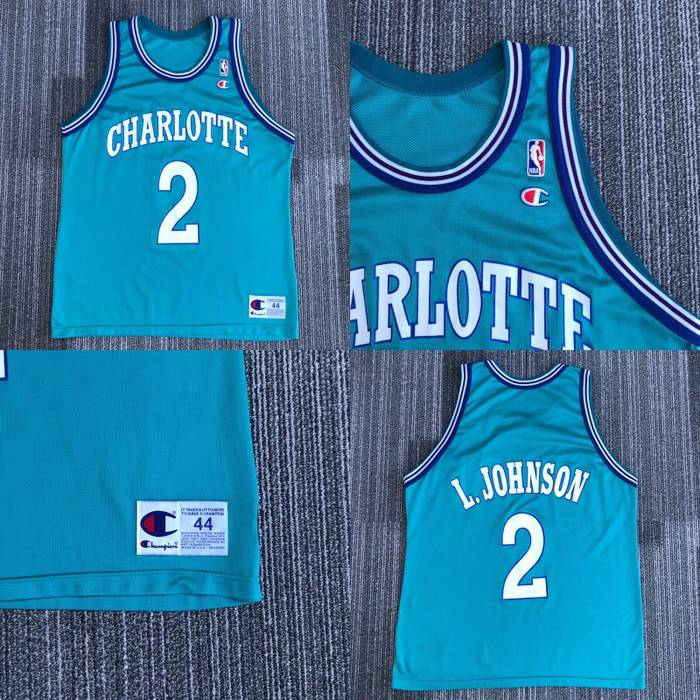 312c7bc9d Vintage Vintage Champion Charlotte Hornets  2 Larry Johnson NBA Jersey Made  in USA Mens Size