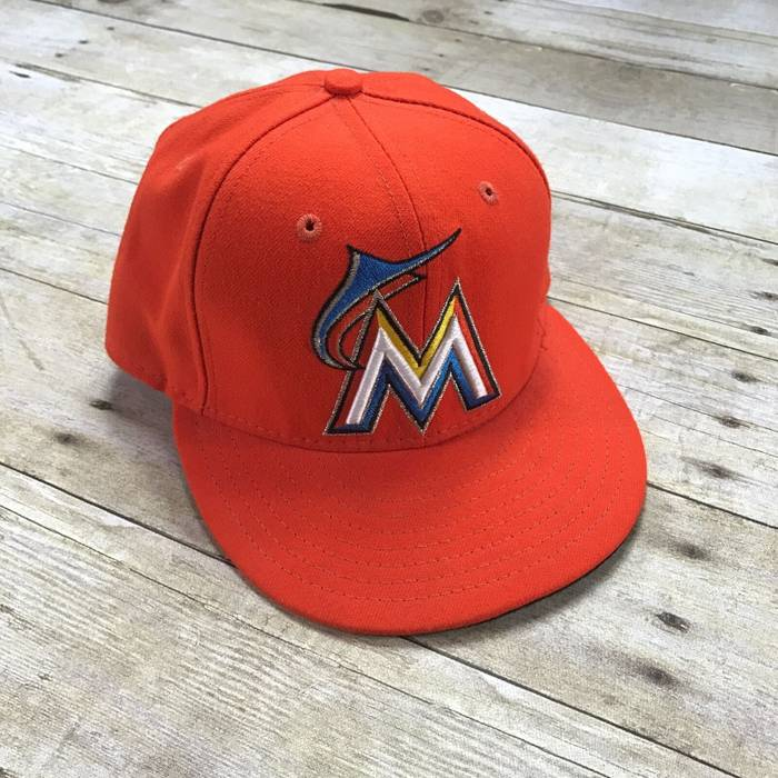 New Era New Era MLB Miami Marlins Florida Orange 59Fifty Fitted Baseball Hat  Made in USA eafb47ce53a3