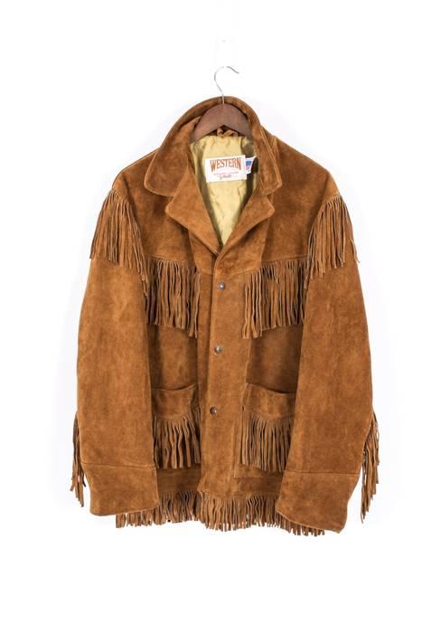 Vintage 80`s VINTAGE MENS SCHOTT WESTERN USA SUEDE LEATHER FRINGE BROWN  JACKET COAT 44