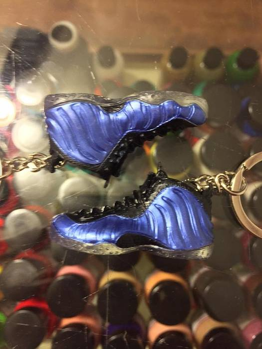 7162c0b5908 Rubber Keychain 2010 Nike Air Foamposite One Royal 3D Keychain Shoe Laces  Not Detachable Size ONE