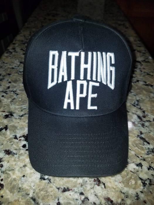 bd7ee07d1e5 Bape A BATHING APE NYC LOGO WORLD GONE MAD SNAPBACK CAP CAMO UNDERVISOR  BLACK Size ONE