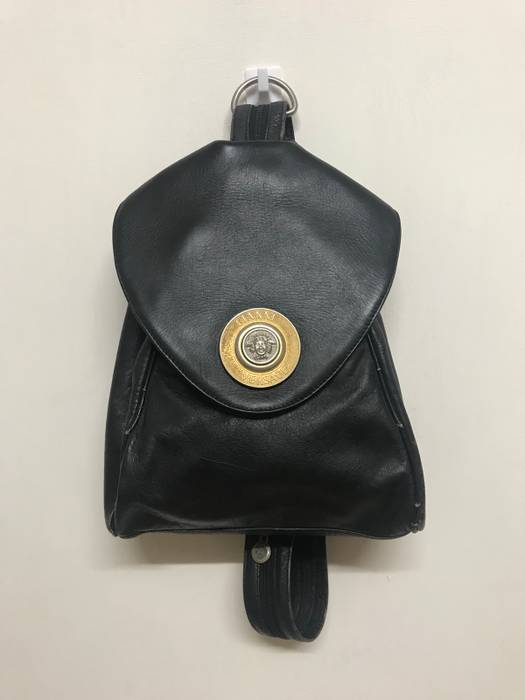 Versace VINTAGE GIANNI VERSACE LEATHER BACKPACK RARE DESIGN Size 40 ... 1cca10dc106db