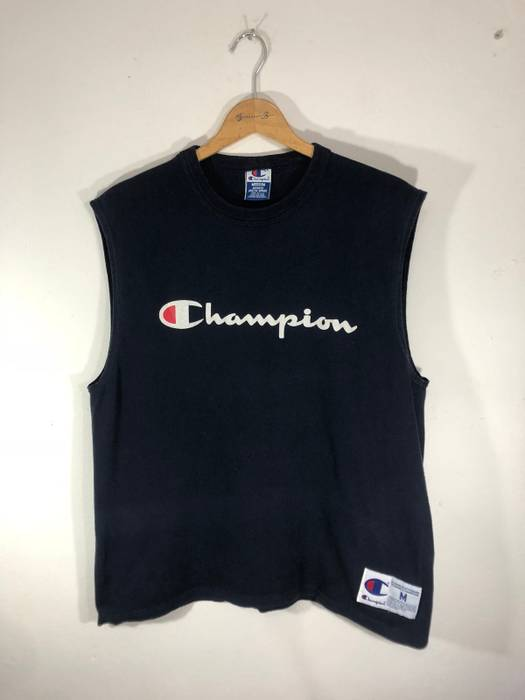4fa6d0361e070 Champion -free shipping- Champion Spell-out Big Logo Sleeveless Shirt Size  US M