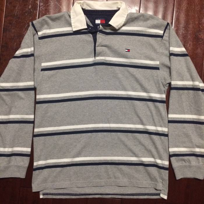 ba6289e5 Vintage Vintage Tommy Hilfiger Striped Spell Out Flag Collared Rugby Style Long  Sleeve Polo Shirt Size