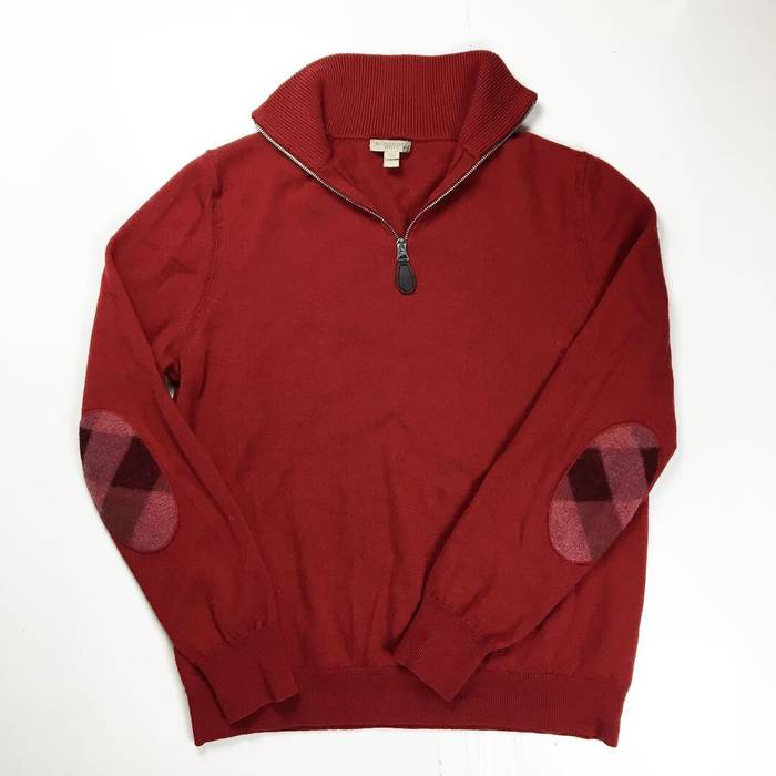 cbdfe1abbf2 Burberry Burberry Wool Quarter Zip Sweater Elbow Patch Nova Check Print  Size Small Fit jacket hat