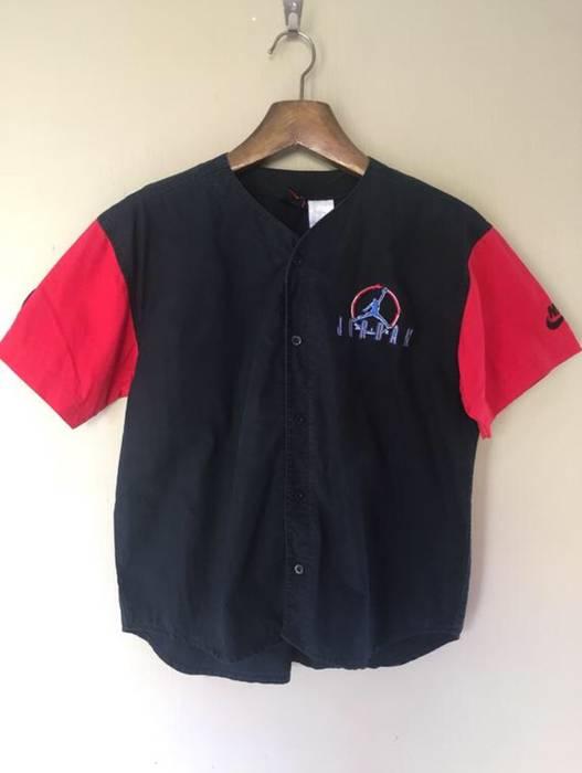 Nike Vintage Rare Nike Air Michael Jordan Baseball Button Up Jersey Shirt  OG XL Size Size 4c33fafa9ebb