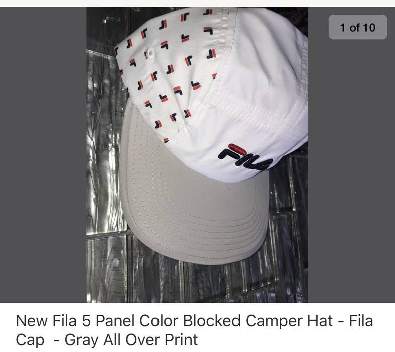 087497a4734 Fila New 5 Panel Camper All Over Print Polyester Gray White Size ONE SIZE