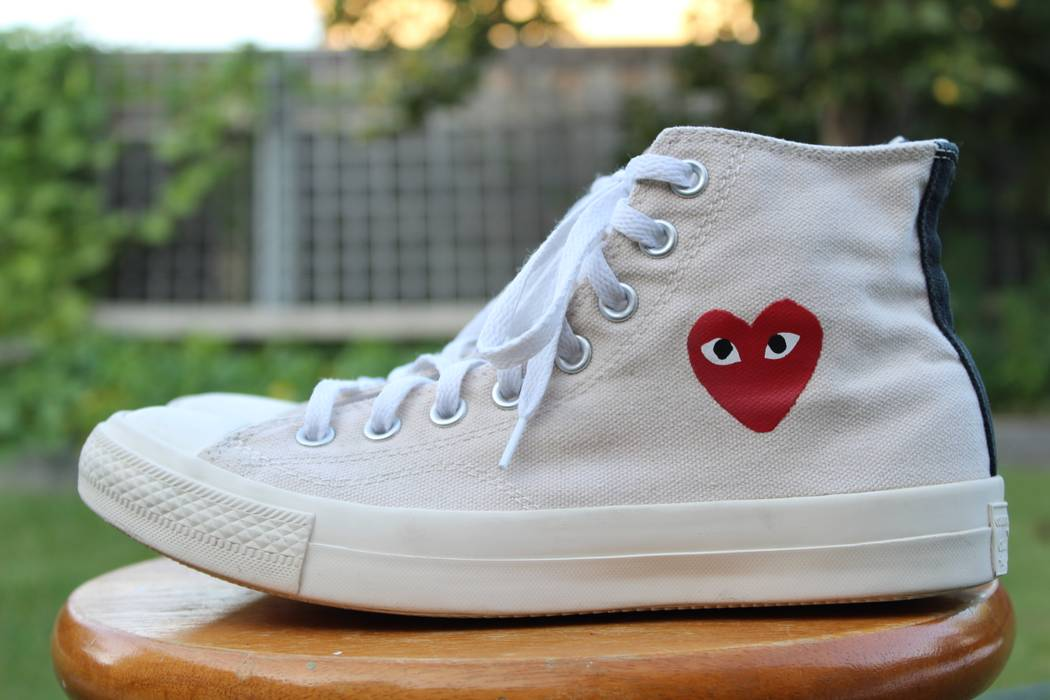 355eff6122f2 Converse CDG High Tops Cream White Little Heart OG 1.0 Size US 7   EU 40