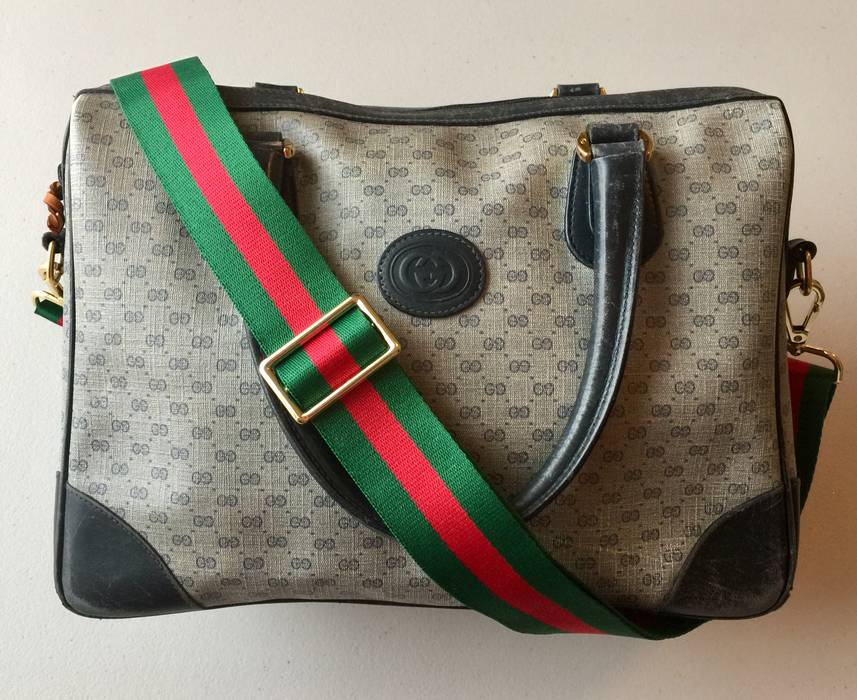 b219a1dec535 Gucci Navy Blue   Gray Micro GG Monogram Weave Canvas and Leather ...