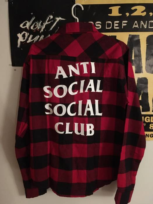 b5e3d1afee6c Antisocial Social Club Flannel Red And Black Size m - Shirts (Button ...