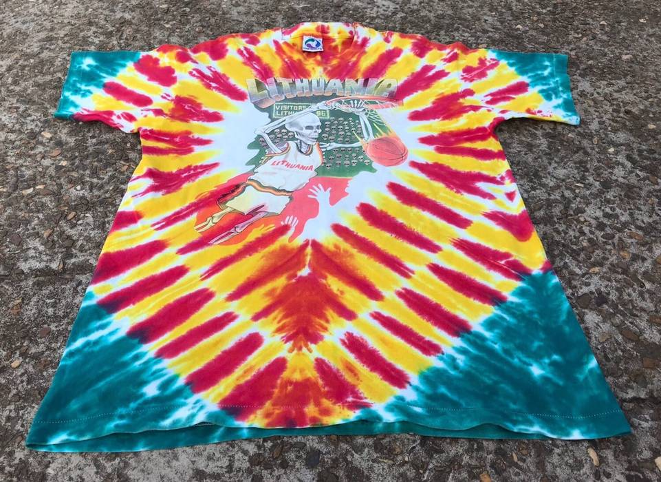 Vintage Grateful Dead Tie Dye Lithuania Basketball Olympic Nba Tee
